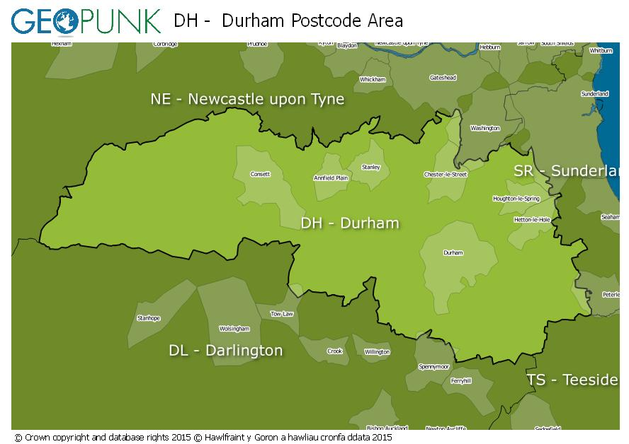 map of the DH  Durham postcode area