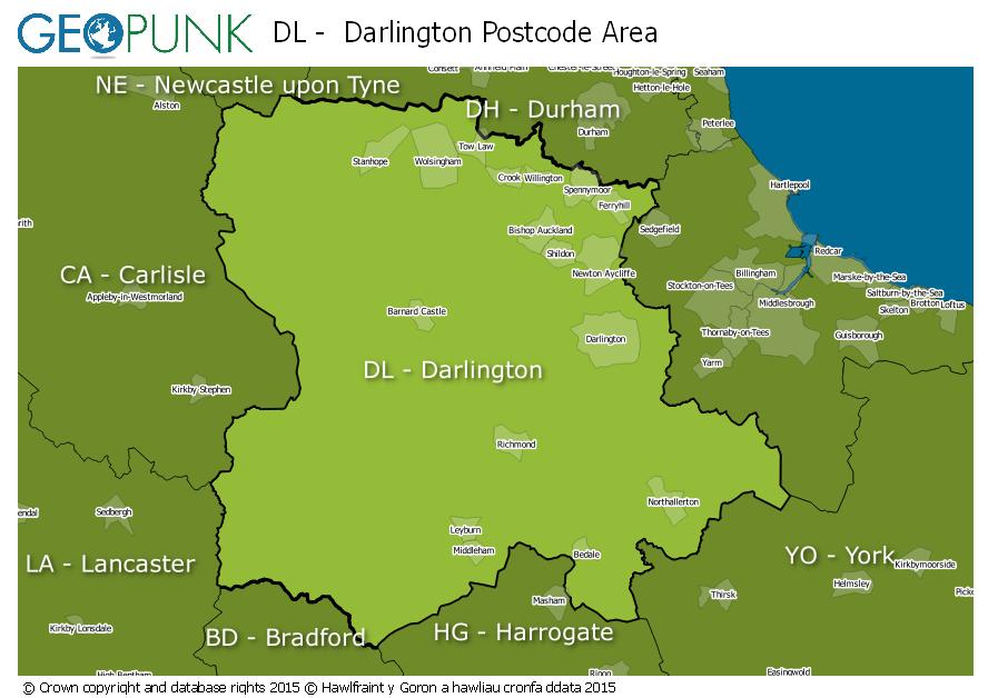 map of the DL  Darlington postcode area