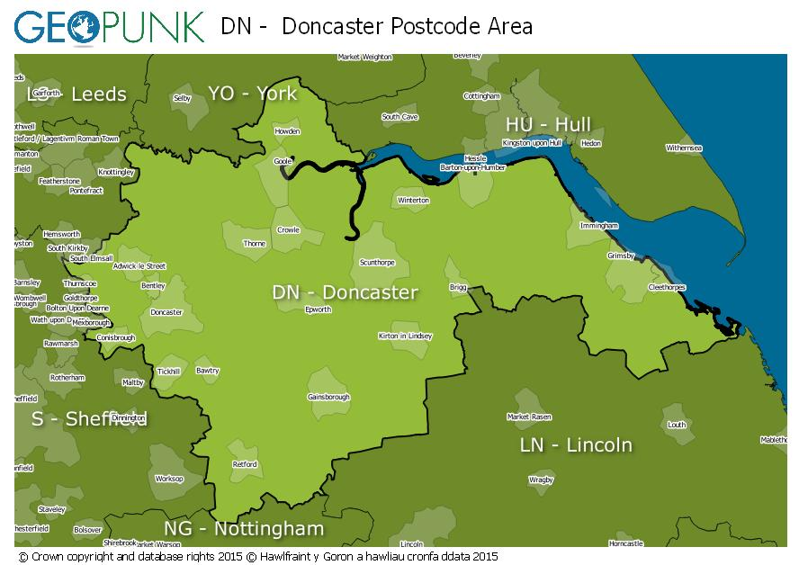 map of the DN  Doncaster postcode area