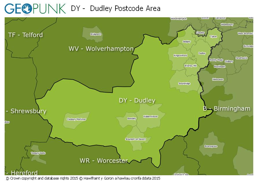 map of the DY  Dudley postcode area