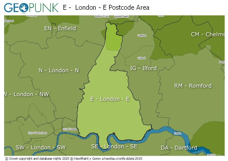 map of the E  London - E postcode area