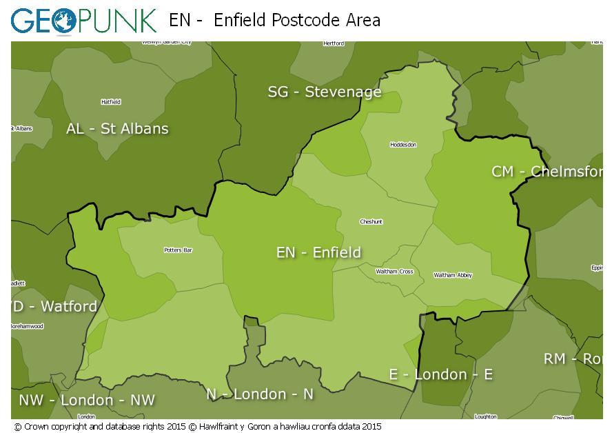 map of the EN  Enfield postcode area