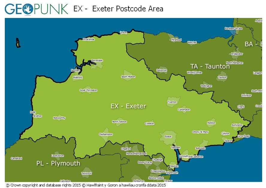 map of the EX  Exeter postcode area