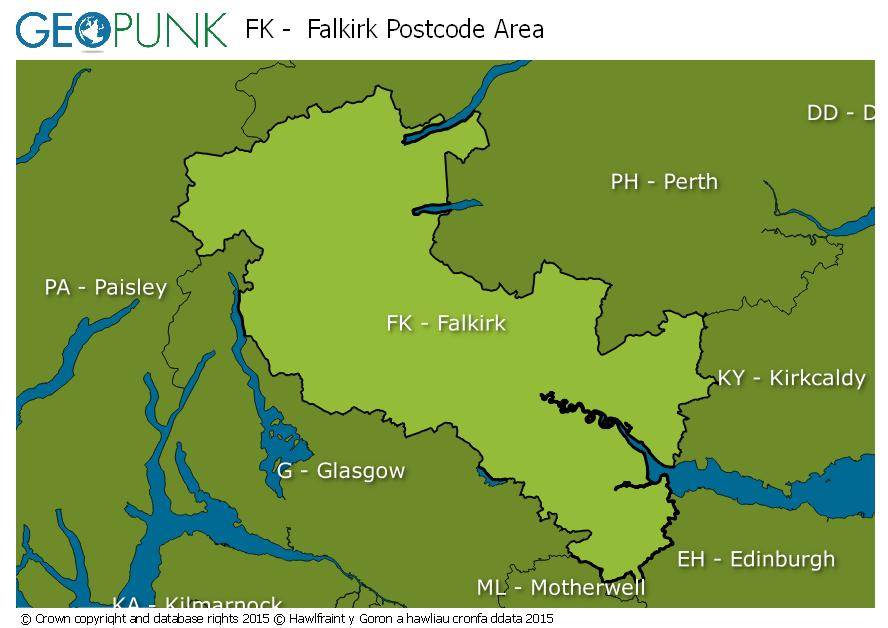 map of the FK  Falkirk postcode area