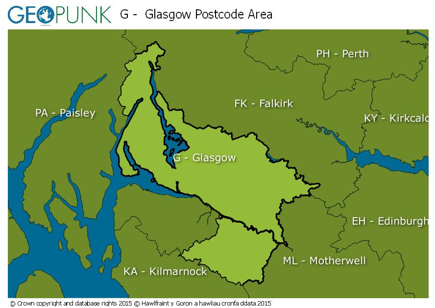 map of the G  Glasgow postcode area