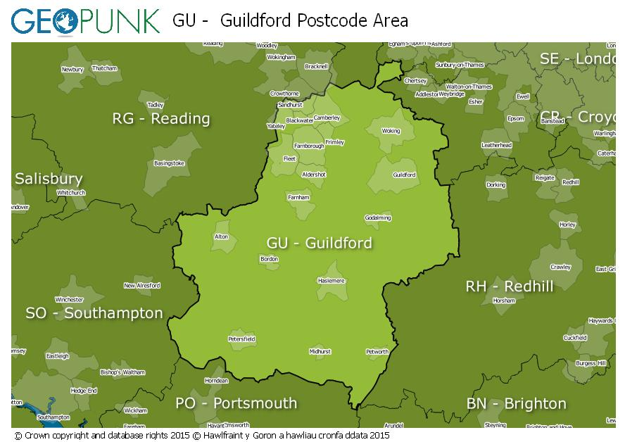 map of the GU  Guildford postcode area