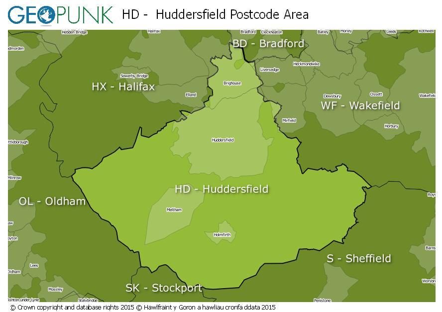 map of the HD  Huddersfield postcode area