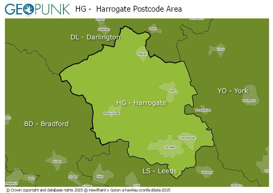 map of the HG  Harrogate postcode area