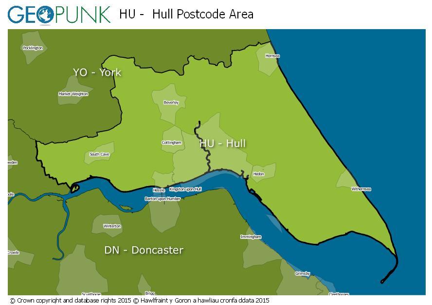 map of the HU  Hull postcode area