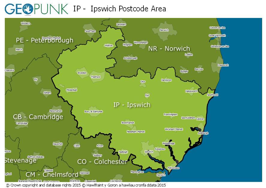 map of the IP  Ipswich postcode area