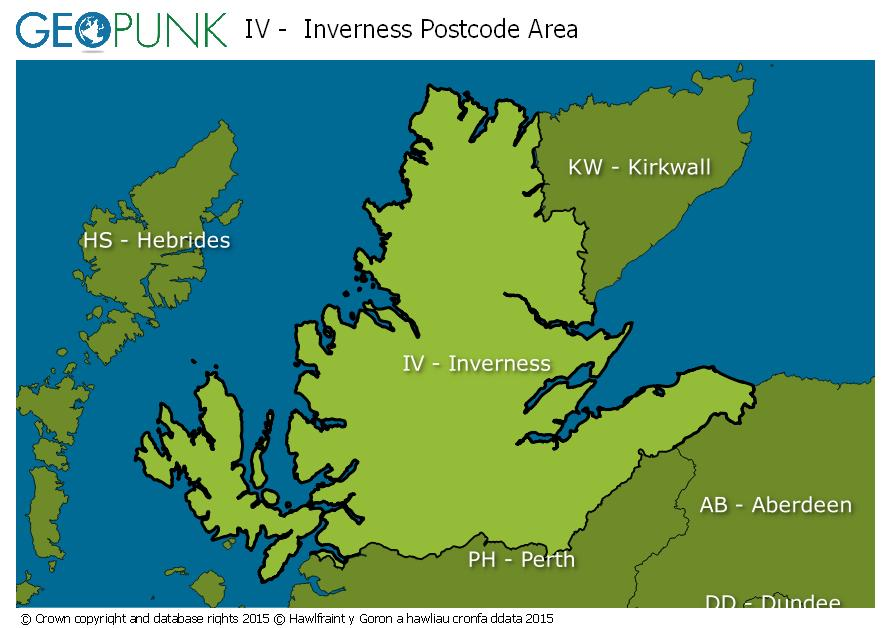 map of the IV  Inverness postcode area