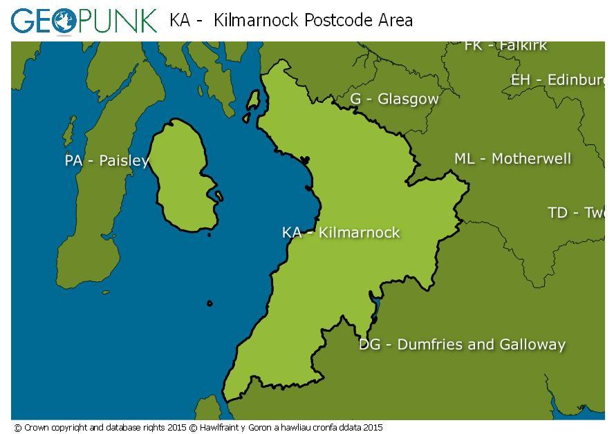 map of the KA  Kilmarnock postcode area