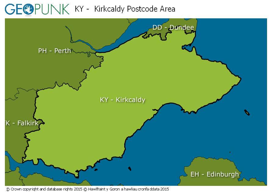 map of the KY  Kirkcaldy postcode area