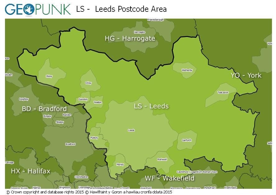map of the LS  Leeds postcode area