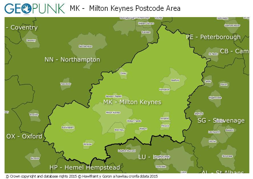 map of the MK  Milton Keynes postcode area