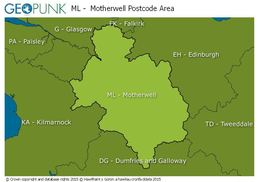 map of the ML  Motherwell postcode area