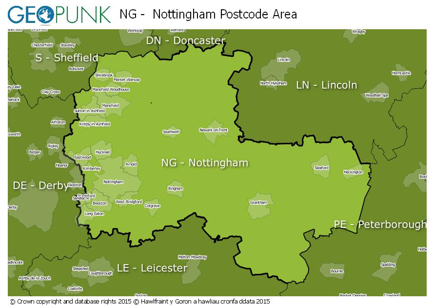 map of the NG  Nottingham postcode area