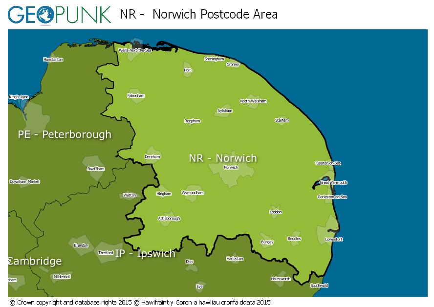 map of the NR  Norwich postcode area
