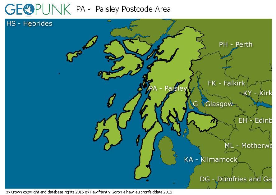 map of the PA  Paisley postcode area