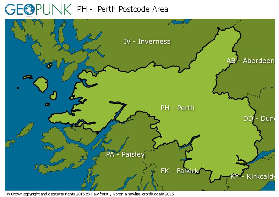 map of the PH  Perth postcode area