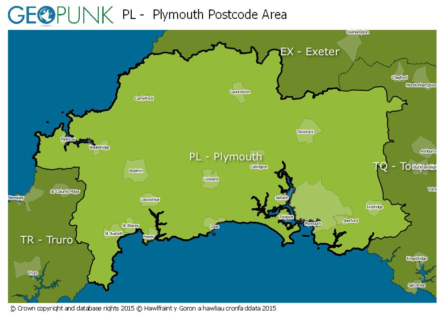 map of the PL  Plymouth postcode area