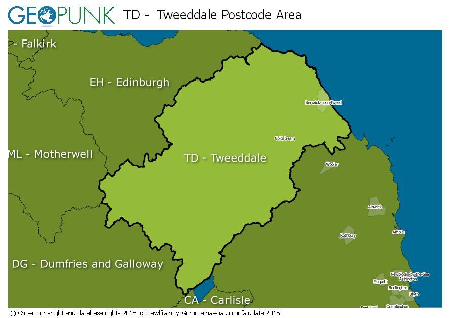 map of the TD  Tweeddale postcode area