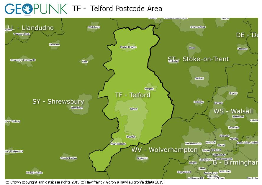 map of the TF  Telford postcode area