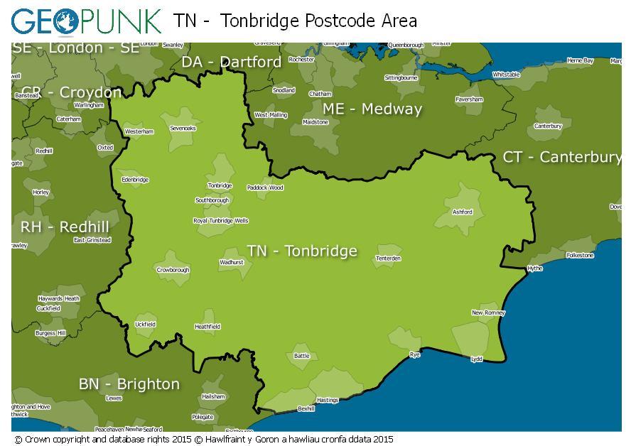 map of the TN  Tonbridge postcode area