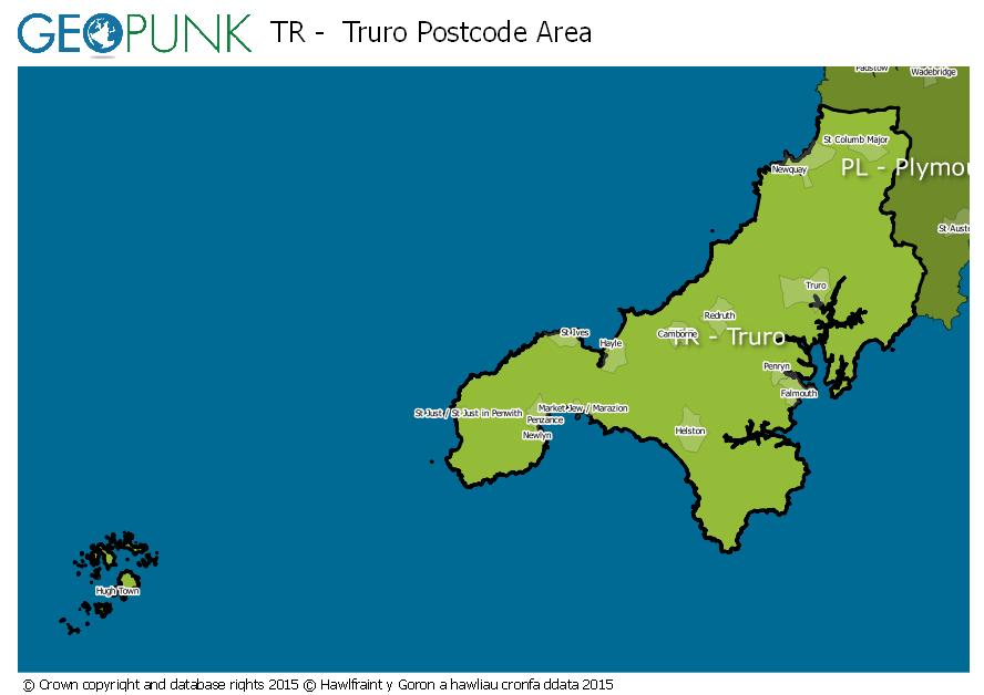 map of the TR  Truro postcode area