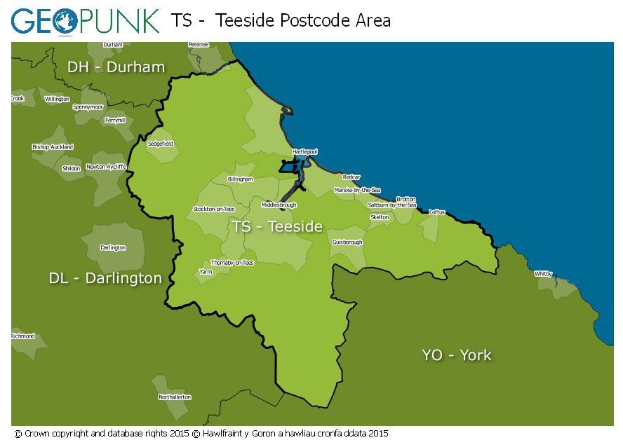 map of the TS  Teeside postcode area