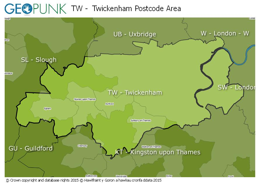 map of the TW  Twickenham postcode area