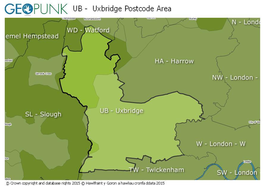 map of the UB  Uxbridge postcode area