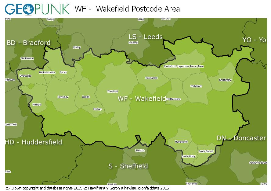 map of the WF  Wakefield postcode area