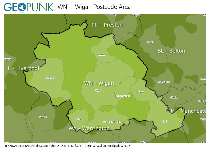 map of the WN  Wigan postcode area