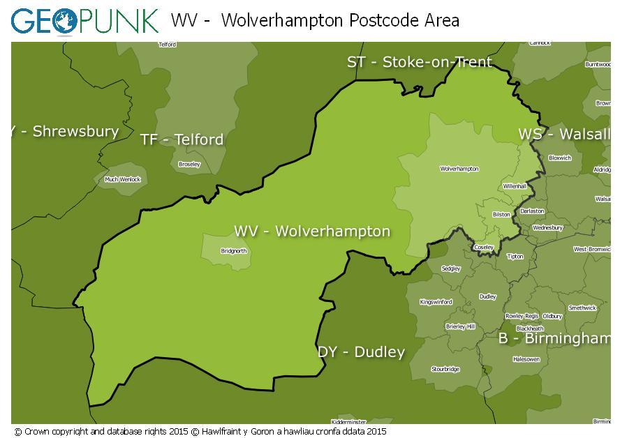 map of the WV  Wolverhampton postcode area