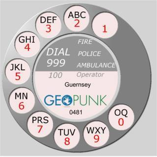 picture showing an old rotary dial for the Guernsey area code