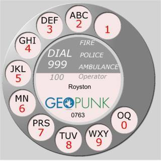 picture showing an old rotary dial for the Royston area code