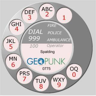 picture showing an old rotary dial for the Spalding area code